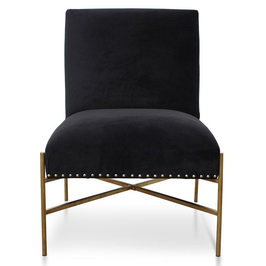 CLC2613-BS Lounge Chair In Black Velvet - Brushed Gold Base