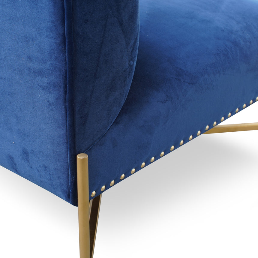 CLC2614-BS Lounge Chair In Blue Velvet Seat - Brushed Gold Base