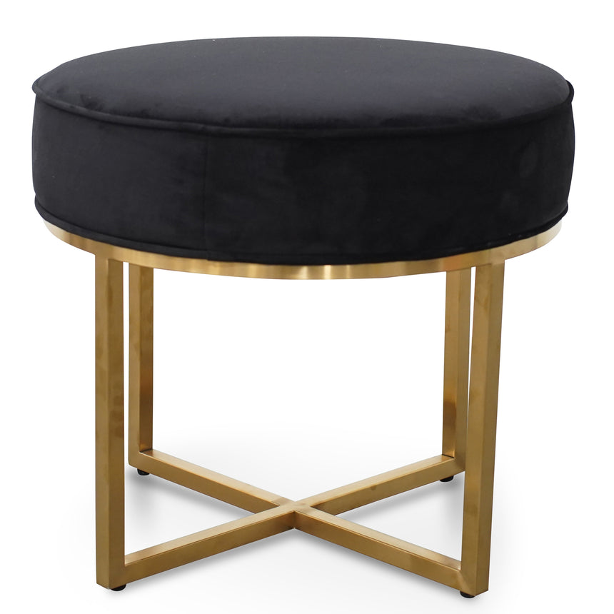 CLC2617-BS Steel Frame Ottoman In Black Velvet Seat - Brushed Gold Base