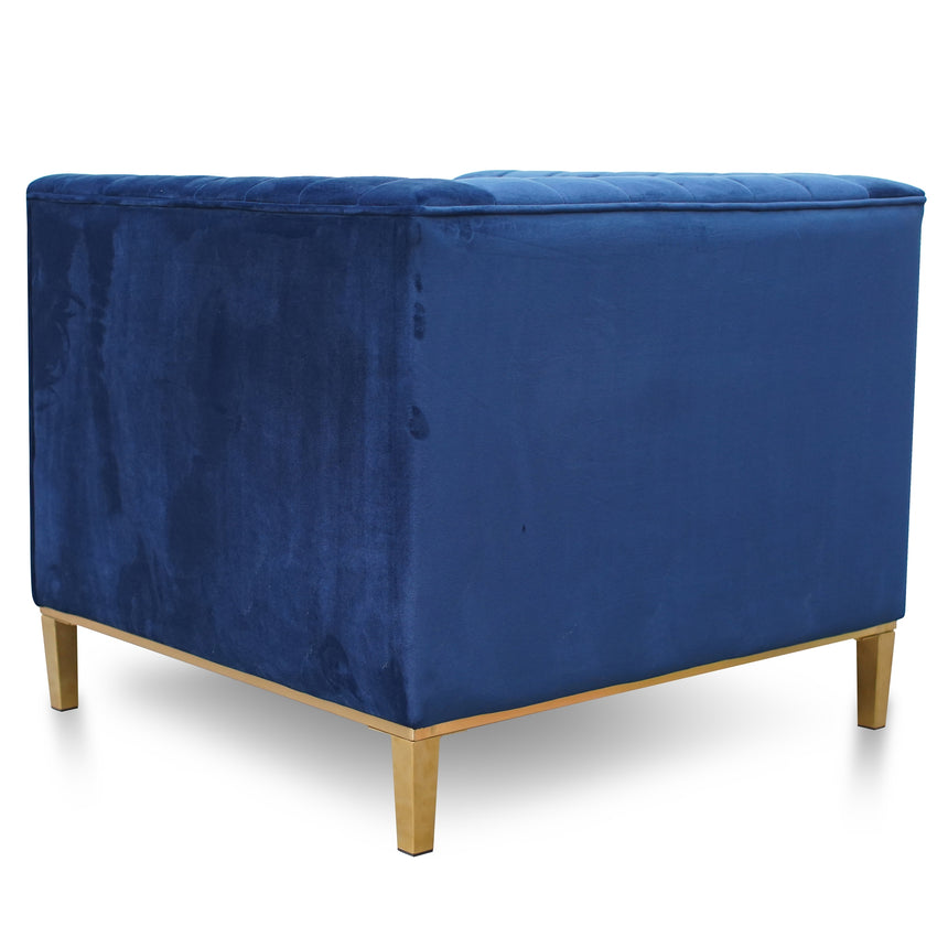 CLC2619-BS Arm Chair in Blue Velvet - Brushed Gold Base