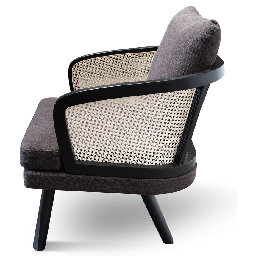 CLC6036-SD - Armchair - Smoke brown Fabric seat with Natural Rattan