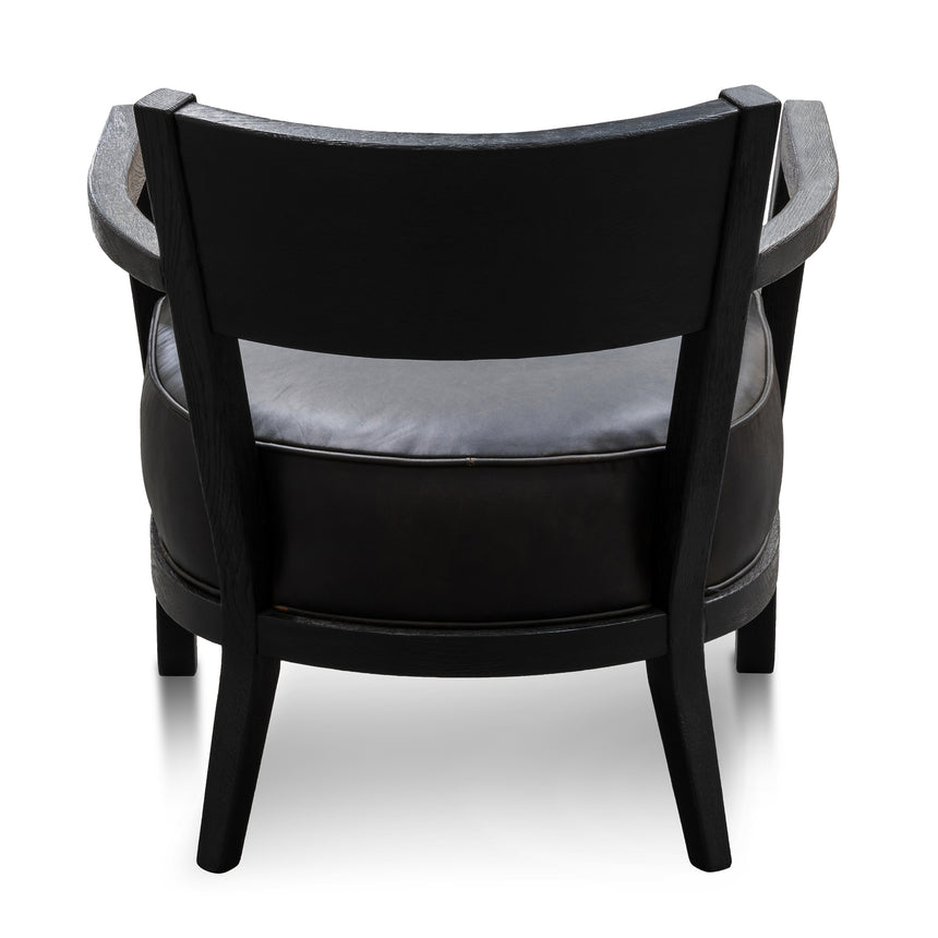 CLC6074-CH Black Wooden Armchair - Black PU leather Seat