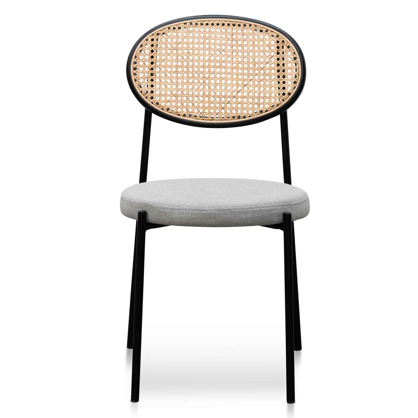 CDC6385-SD Grey Fabric Natural Rattan Dining Chair - Black
