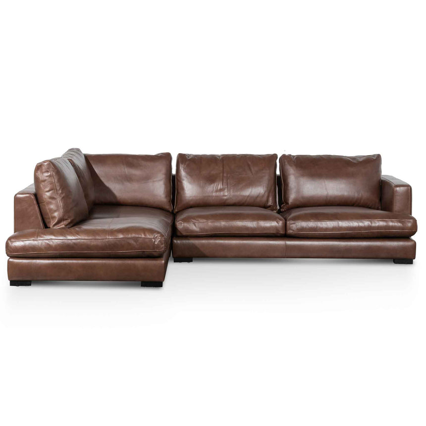 CLC6266-KSO 4 Seater Left Chaise Leather Sofa - Mocha Brown