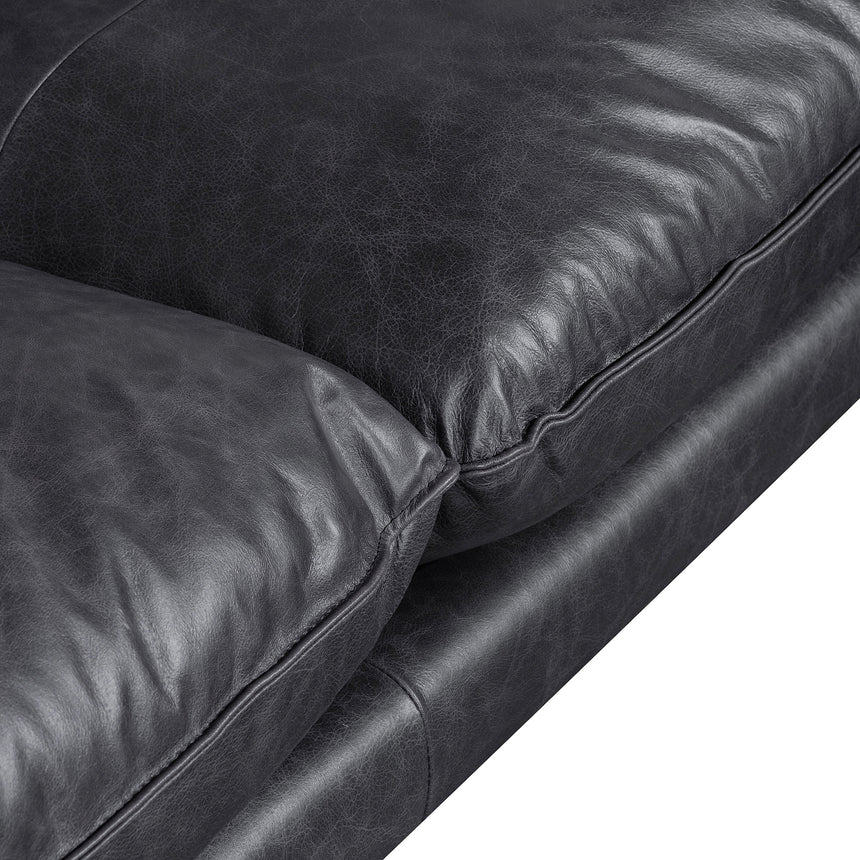 CLC6250-KSO 4 Seater Right Chaise Leather Sofa - Charcoal