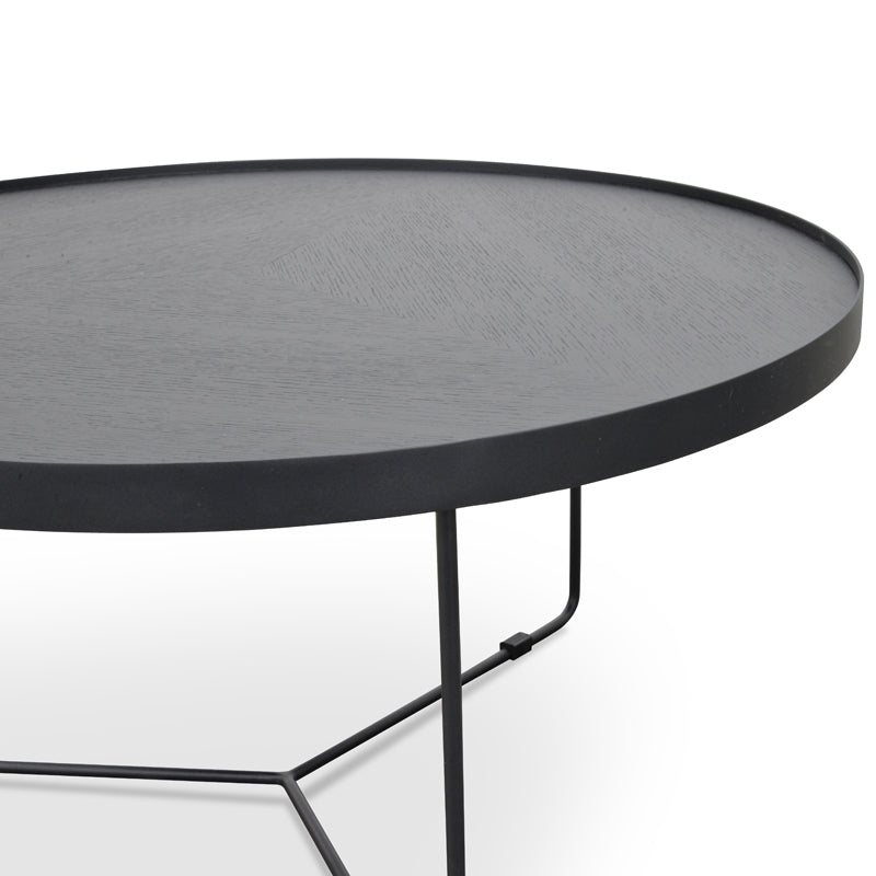 CCF391L-BB 90cm Round Coffee Table - Black Oak Top - Black Frame