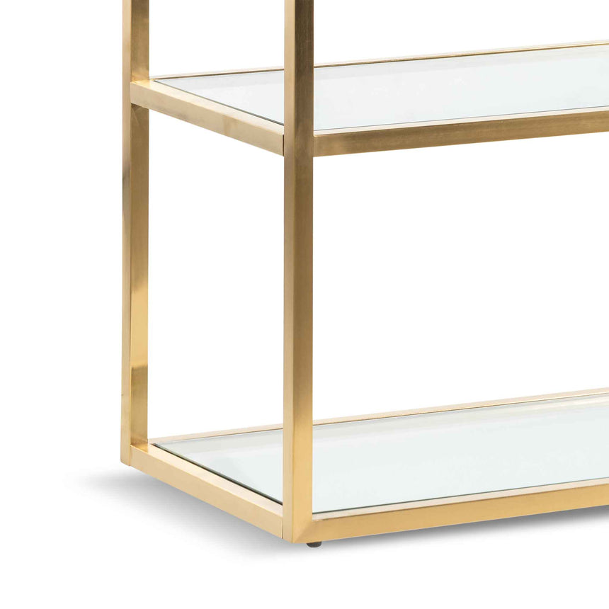 CDT6221-BS 1.4m Glass Console Table - Brushed Gold Base