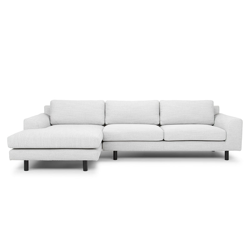 CLC747 3 Seater Left Chaise Sofa - Light Texture Grey - Black legs