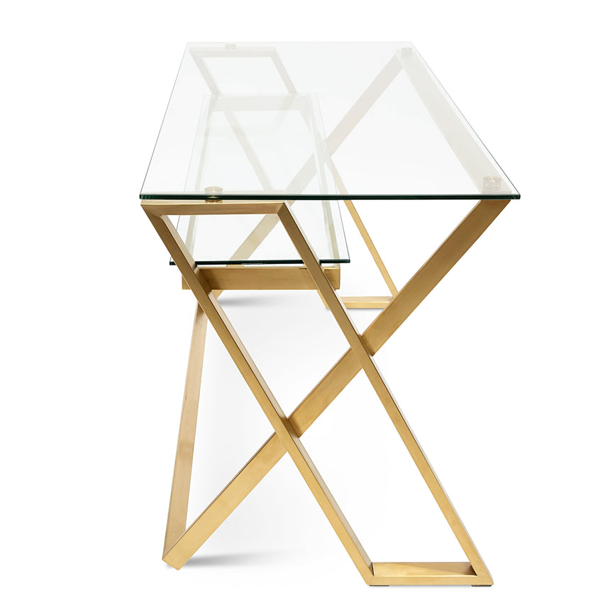 COF2589-BS 120cm Glass Home Office Desk - Brushed Gold Base