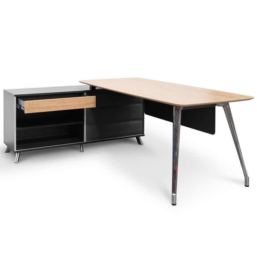 COT2344-SN 2m Left  Return Office Desk - Natural - Black