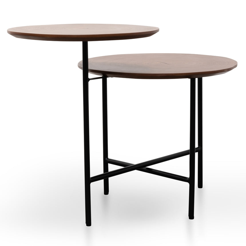 CST2299-IG Side Table - Walnut - Black Legs