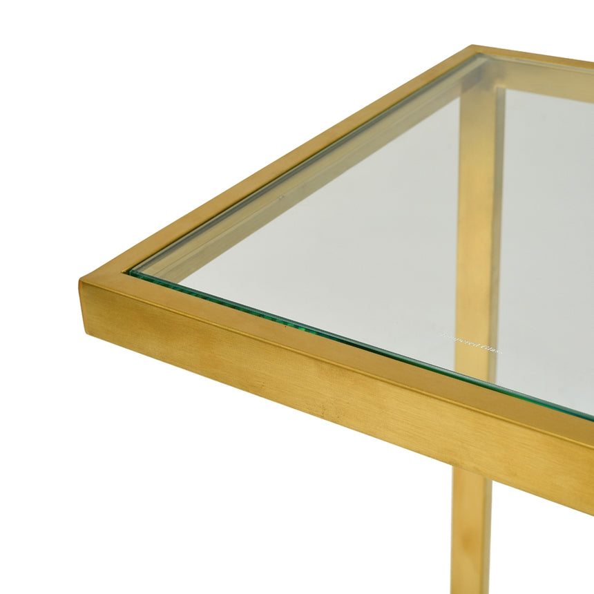 Set of 3 CST2358-KS Glass Side Table - Gold Base