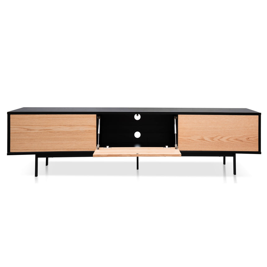 CTV2478-BB 2m Entertainment TV Unit - Black Frame - Natural drawers