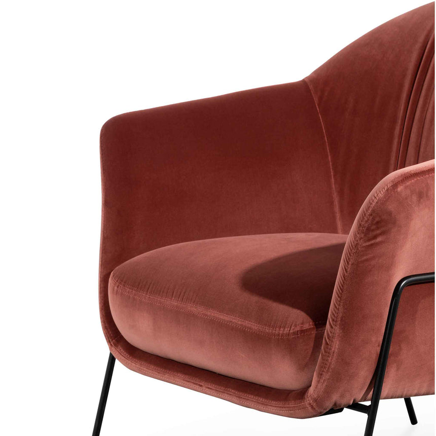 CLC6255-KSO Blood Orange Velvet Armchair - Black Legs