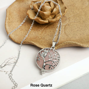 Owl with tree of  life Stone Necklace