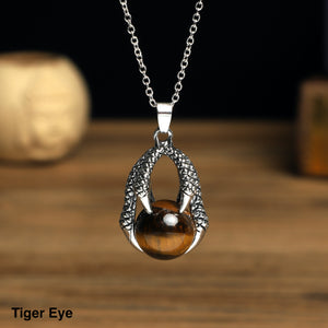Dragon Claw with  stone ball Necklace