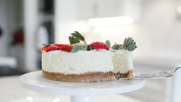 delicious keto-friendly cheesecake with strawberries on top