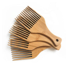 Load image into Gallery viewer, Natural Bamboo Afro Pick