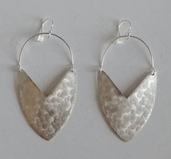 Sterling Silver Tulip Shield Earrings - Large