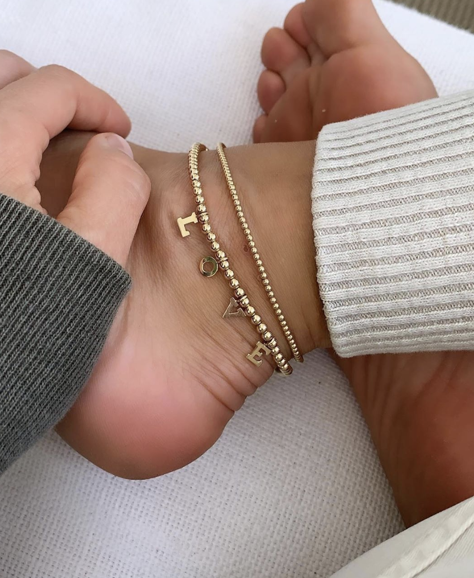3mm gold ball anklet