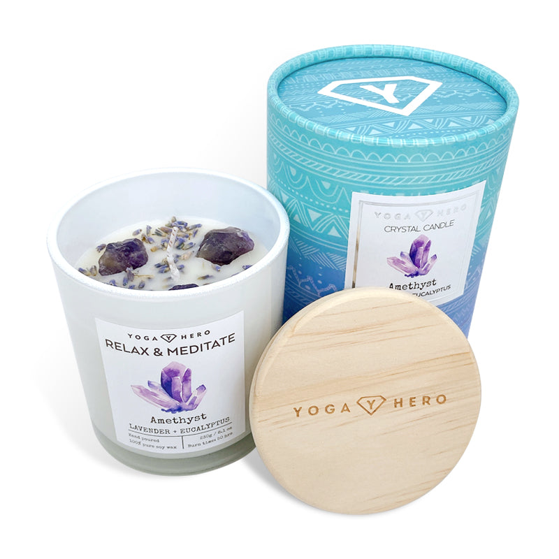 Crystal Candle with Amethyst and Lavender (Relax & Meditate)