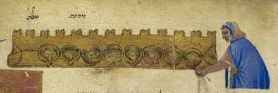 ILLUSTRATION OF A PERSON LIGHTING A CHANUKAH MENORAH, PRODUCED IN CENTRAL ITALY IN 1374 BY JEKUTHIEL BEN SOLOMON OF BOLOGNA (SCRIBE)
