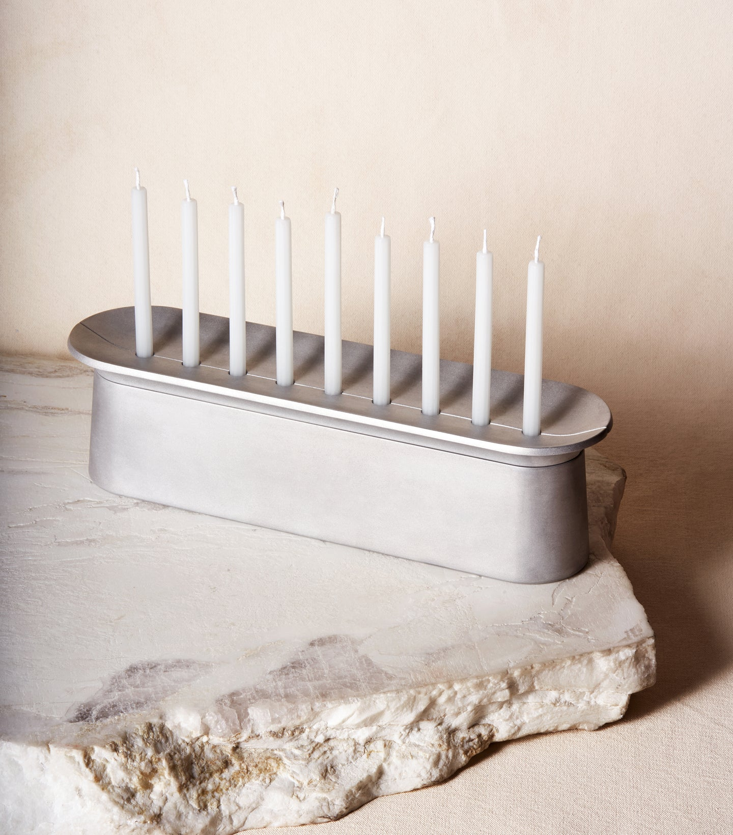 Load image into Gallery viewer, Block Chanukiah in Brushed Aluminum with nine Chanukah candles