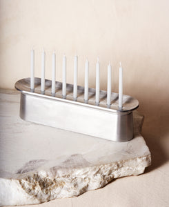 Block Chanukiah in Polished Aluminum with nine candles