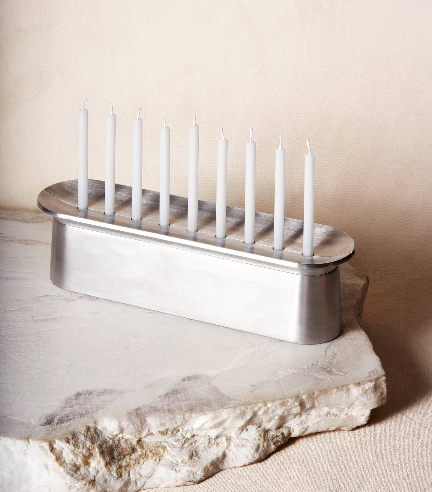 Load image into Gallery viewer, Block Chanukiah in Polished Aluminum with nine candles