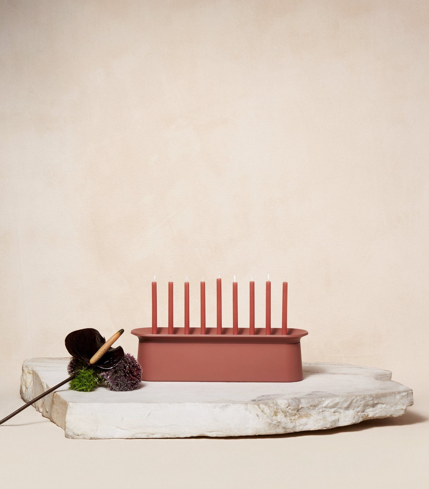 Load image into Gallery viewer,  Chanukah Candles in Clay Red with Chanukiah Via Maris