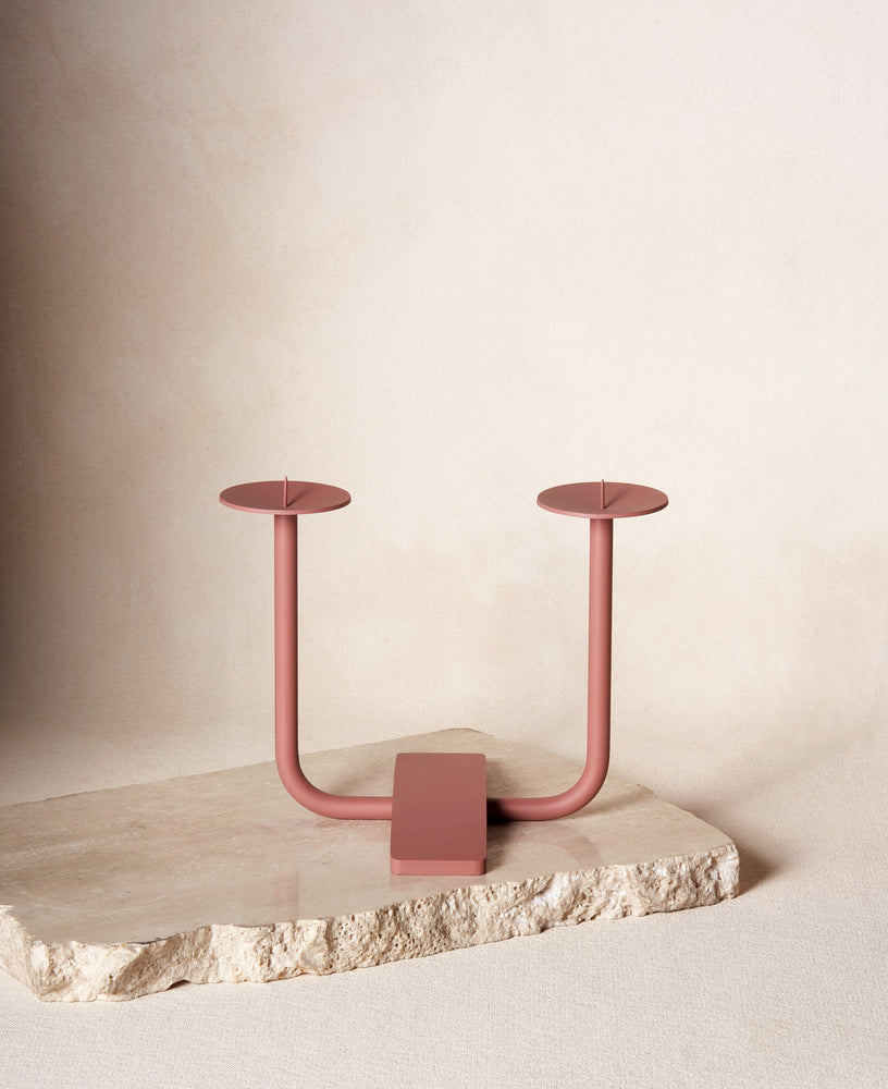 Rest Candleholder in Clay Red