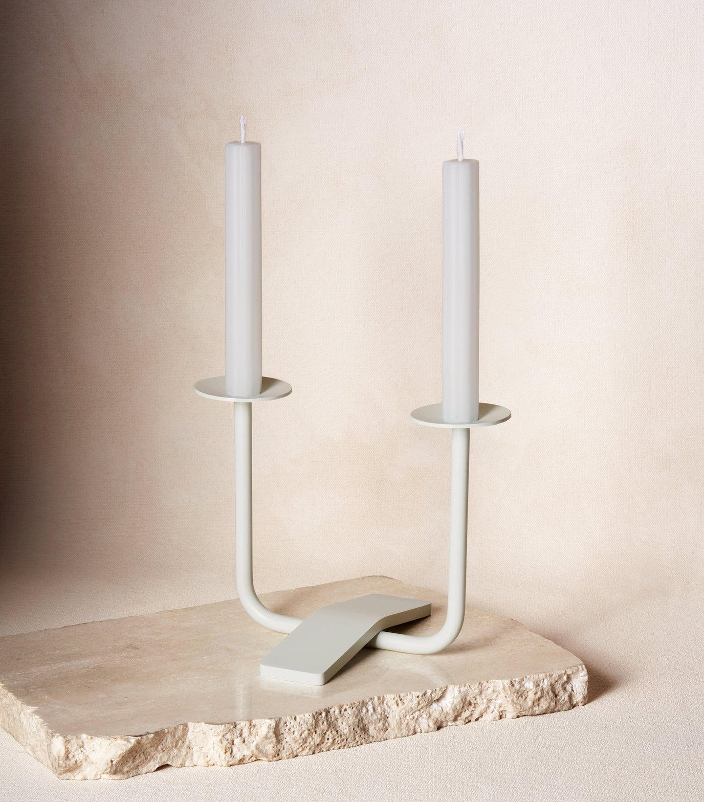 Load image into Gallery viewer, Two Shabbat Candles in Cloud White with Candle Holder