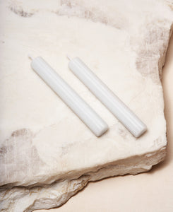 Two Shabbat Candles in Cloud White