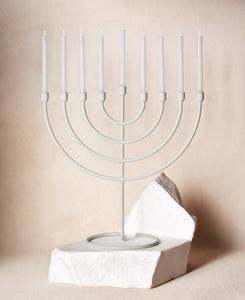 Chanukah Candles in Cloud White with Chanukiah Via Maris