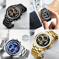 Gold Classic mechanical dial wrist watch steel link
