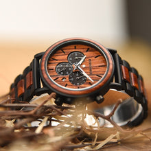 Load image into Gallery viewer, wooden quartz wristwatch Gift Wood Carved Super Watch