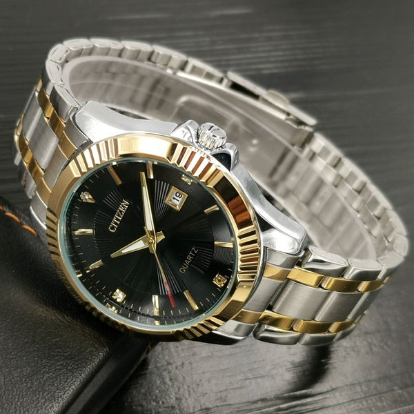 Quartz Mechanical Watch Men Gold Wrist Stainless Steel Business Watch