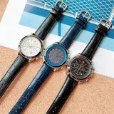 Leather strap sport watch wristwatch luxury water resist sieko design