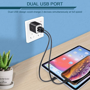 2.1A Multiport Fast Charge Power Brick Cube Replacement for iPad, iPhone, Galaxy