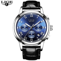 Lige Wrist Watch Silver with Leather Strap Flyback Band