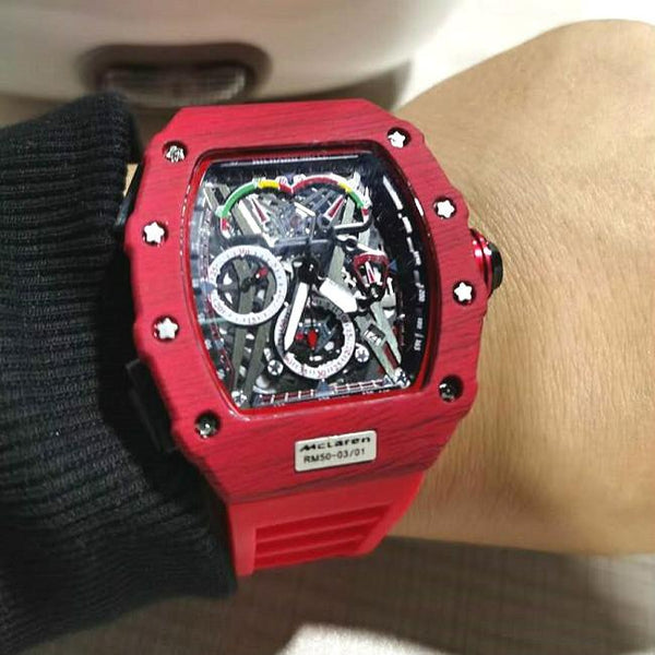Big Dial Men Chronograph Skull Classic skeleton watch red