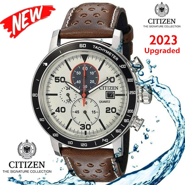 Quartz White Watch Leather Strap Citizen Flyback Wristwatch