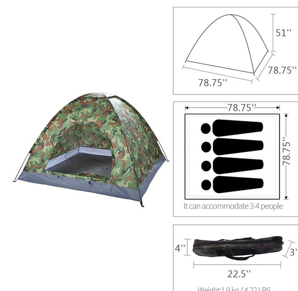 pro 2 man camo hiking tent full scale strong material