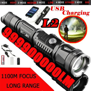 Powerful 999900000LM Flashlight Lamp Torche USB charge