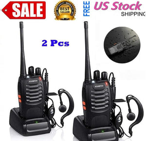 400-470MHz 16-CH Handheld Walkie Talkie Black Two Way Tech Gear Mobile Set