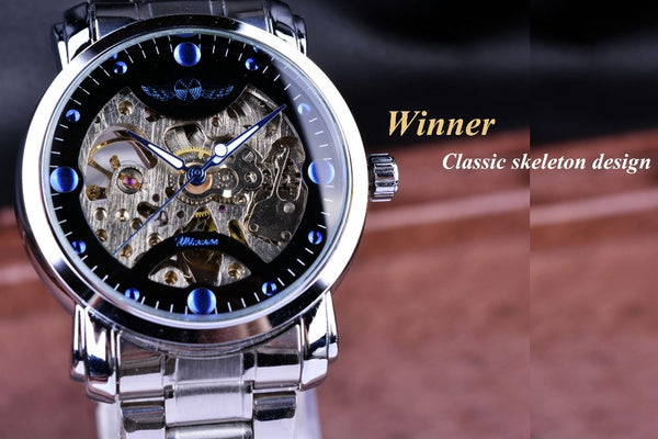 WINNER Blue Ocean Fashion Casual Designer Stainless Steel Men Skeleton Watch