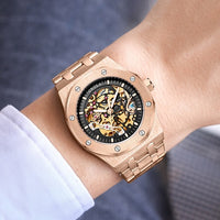 mechanical skeleton watch luxury brand waterproof Stainless Steel