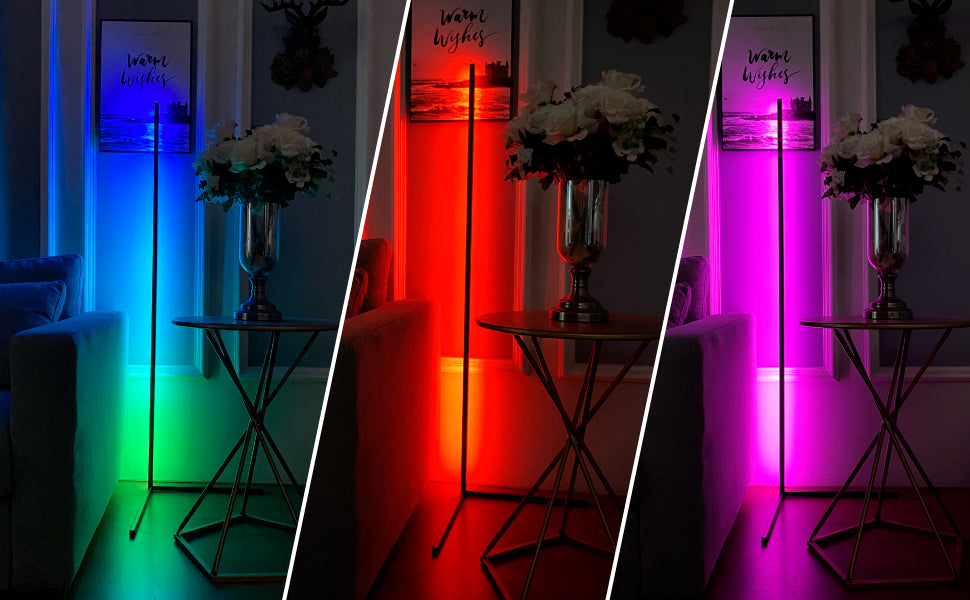 The corner lamp is an amazing lamp, a real game changer in lighting.Colorful RGB, you can control the RGB and brightness remotely;Remote controlled - up to 30m signal