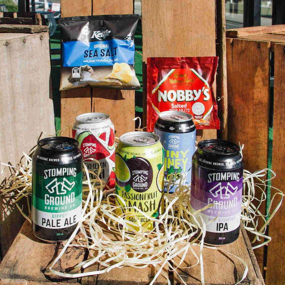 Craft Beer Pack - Includes Stompings Pale ale, Pineapple pale ale, Ipa, passionfruit mash, watermelon mash, Tiny piney, Nobby's salt beer nuts and kettle sea salt chips.