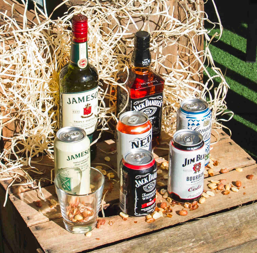 Whiskey Gift Pack -Includes Canadian club, Jim beam, Jack Daniels, Jameson's lime and dry, Ned whiskey Cans and Whiskey glass